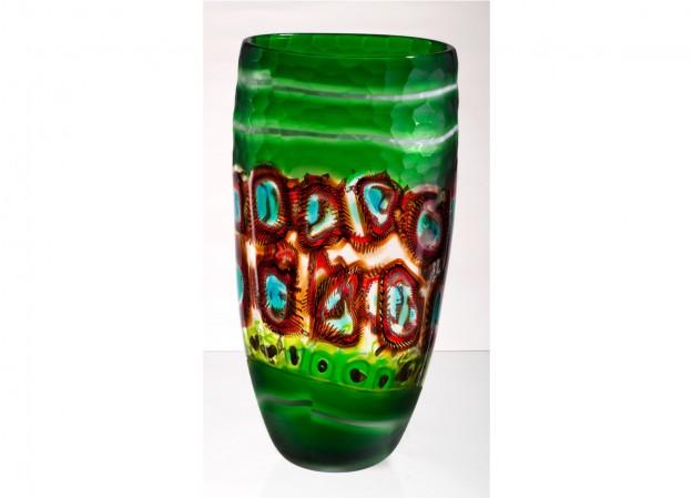 Produzione vaso molato battuto veneziano CR1477 lavorazione vetro di Murano originale