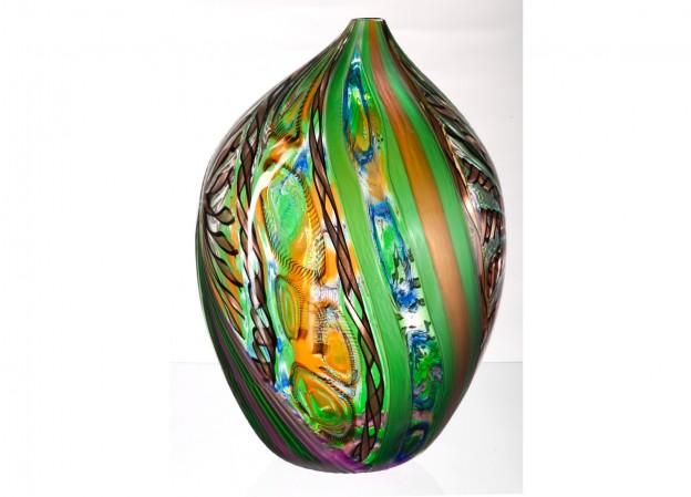 Produzione vaso molato battuto veneziano CR1479 lavorazione vetro di Murano originale