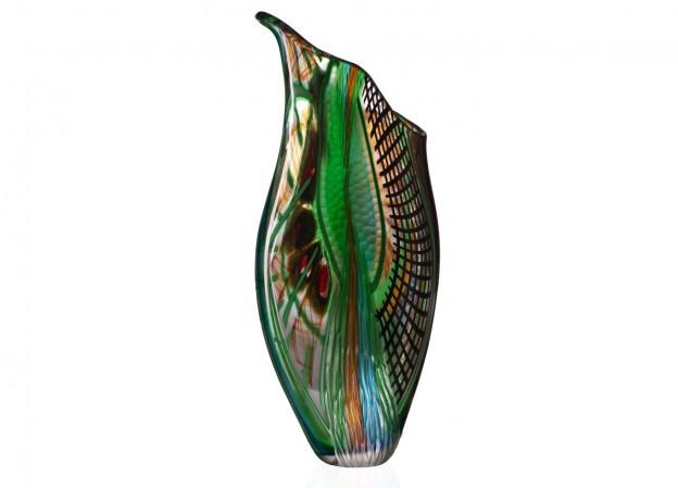 Produzione vaso molato battuto veneziano CR1483 lavorazione vetro di Murano originale